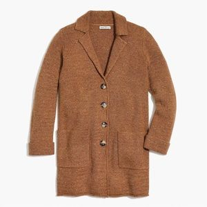 NWT J Crew camel donegal sweater coat cardigan S